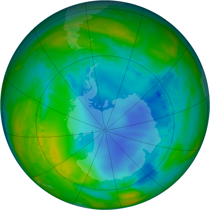 Antarctic ozone map for 21 July 2003