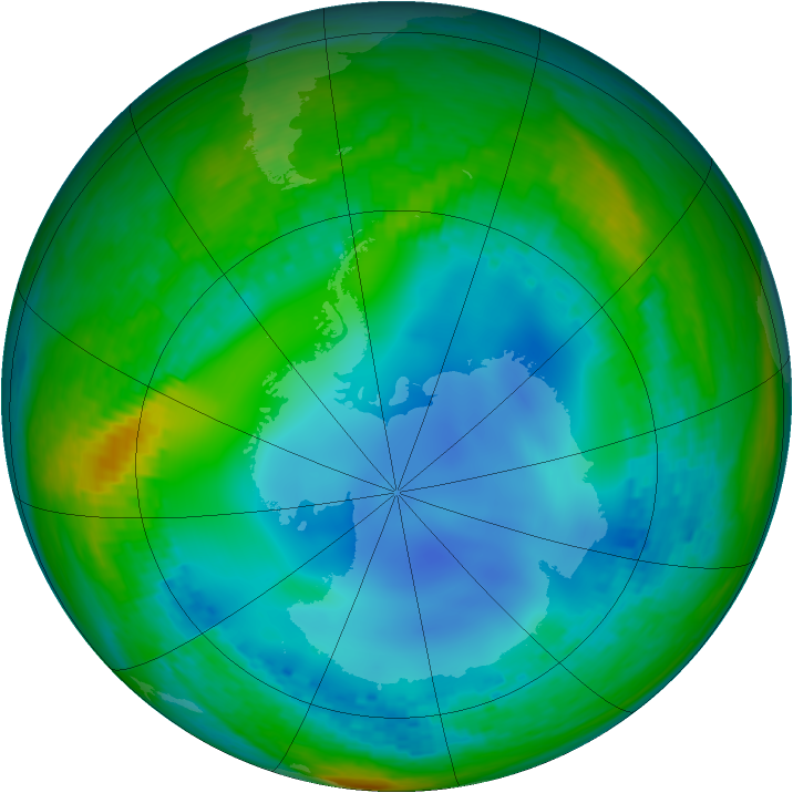 Antarctic ozone map for 23 July 2003