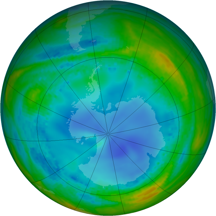 Antarctic ozone map for 26 July 2003