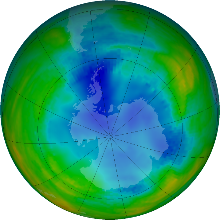Antarctic ozone map for 31 July 2003