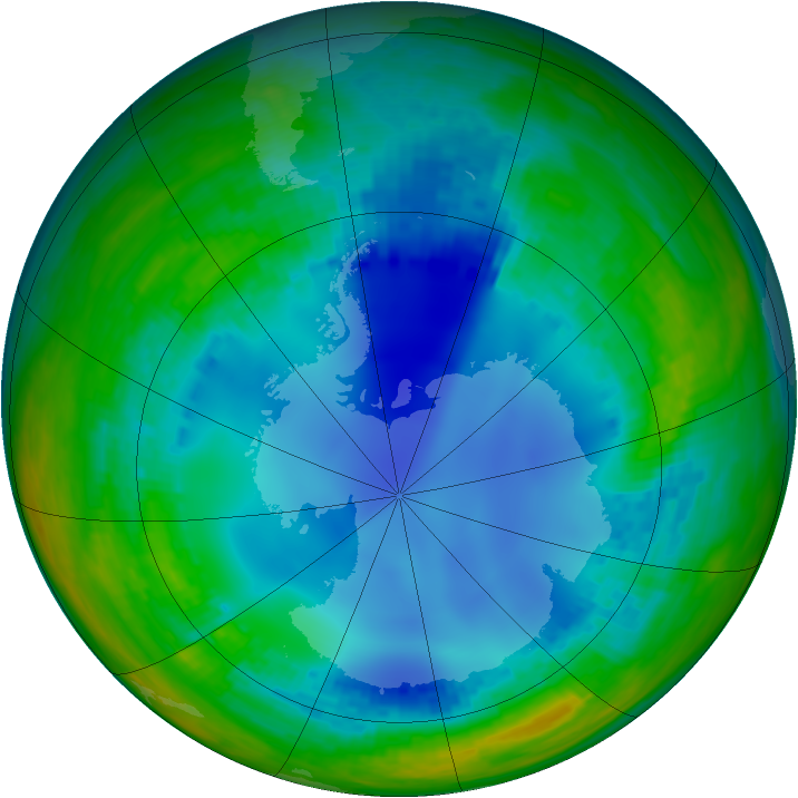 Antarctic ozone map for 01 August 2003