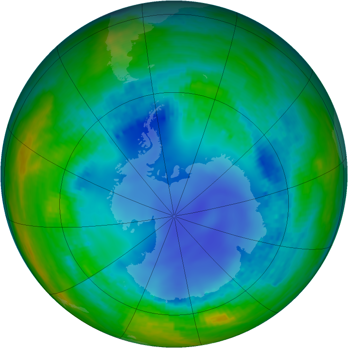Antarctic ozone map for 04 August 2003