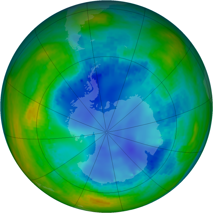 Antarctic ozone map for 06 August 2003