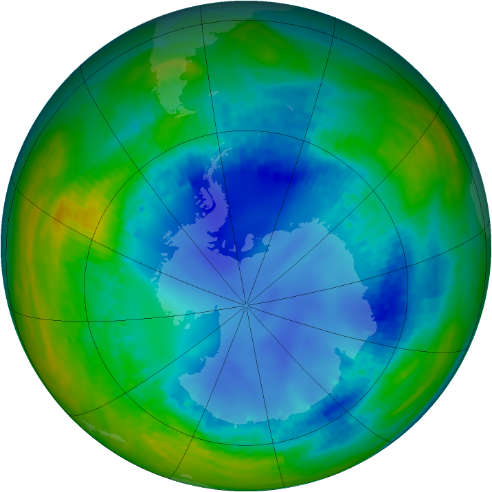 Antarctic ozone map for 07 August 2003