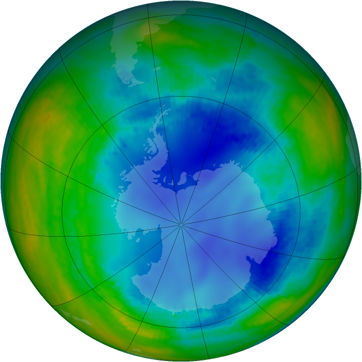 Antarctic ozone map for 08 August 2003