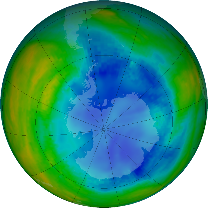 Antarctic ozone map for 09 August 2003