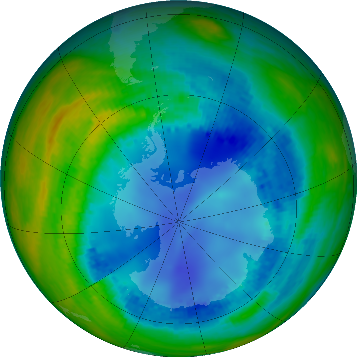 Antarctic ozone map for 10 August 2003