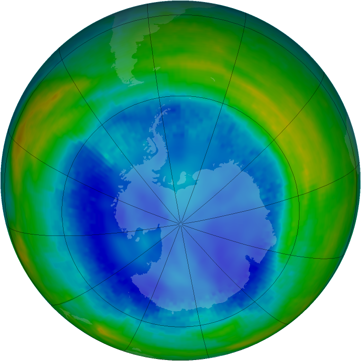 Antarctic ozone map for 15 August 2003