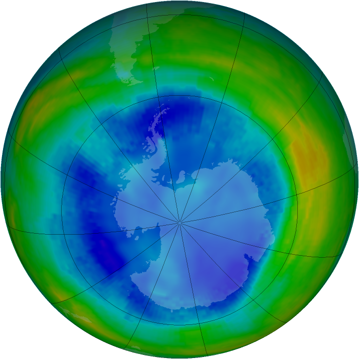 Antarctic ozone map for 16 August 2003