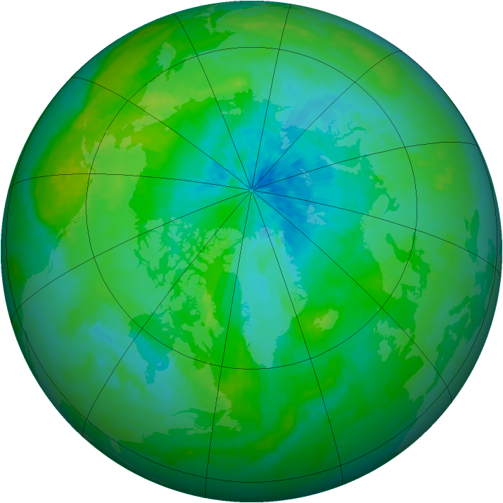 Arctic ozone map for 20 August 2003