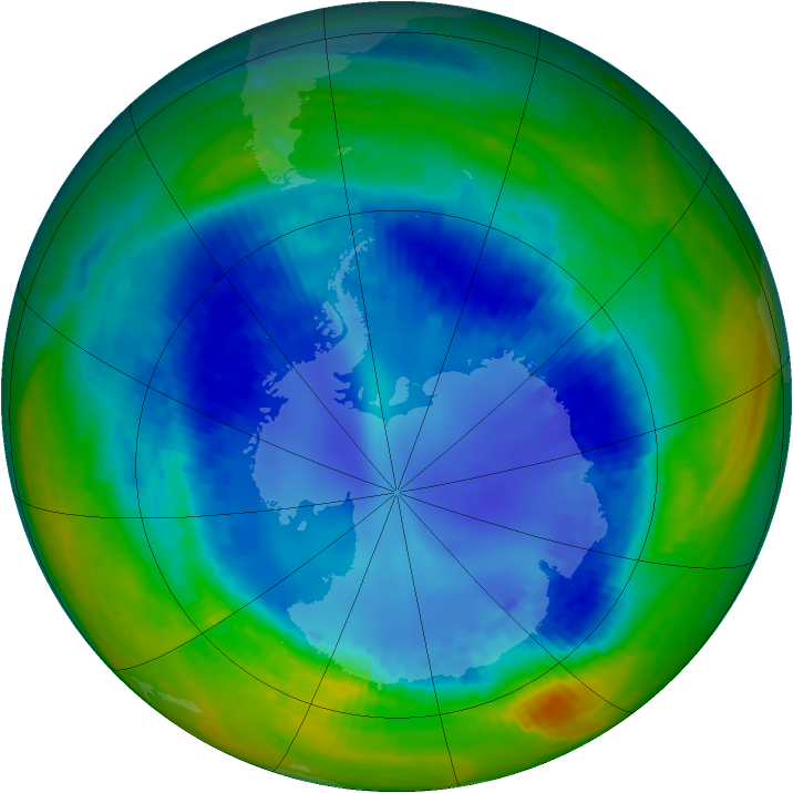 Antarctic ozone map for 20 August 2003