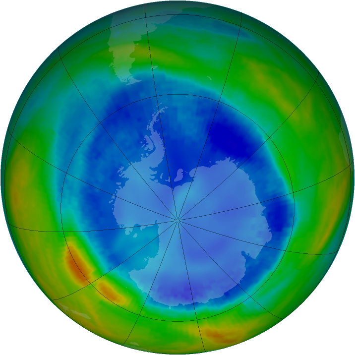 Antarctic ozone map for 21 August 2003