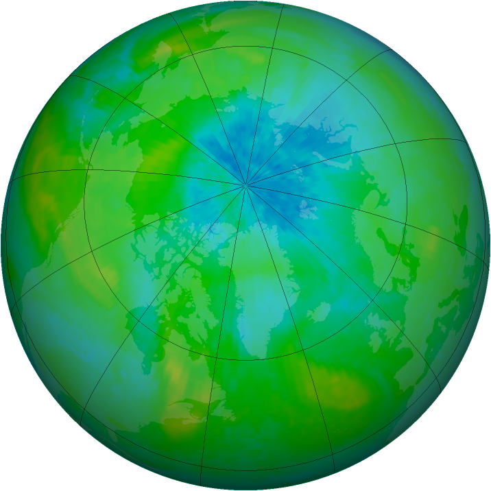 Arctic ozone map for 24 August 2003