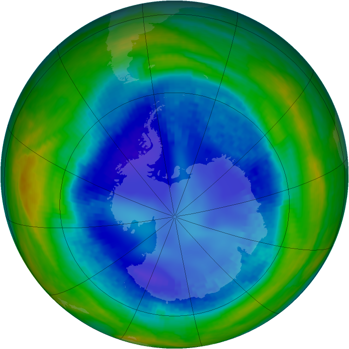 Antarctic ozone map for 24 August 2003