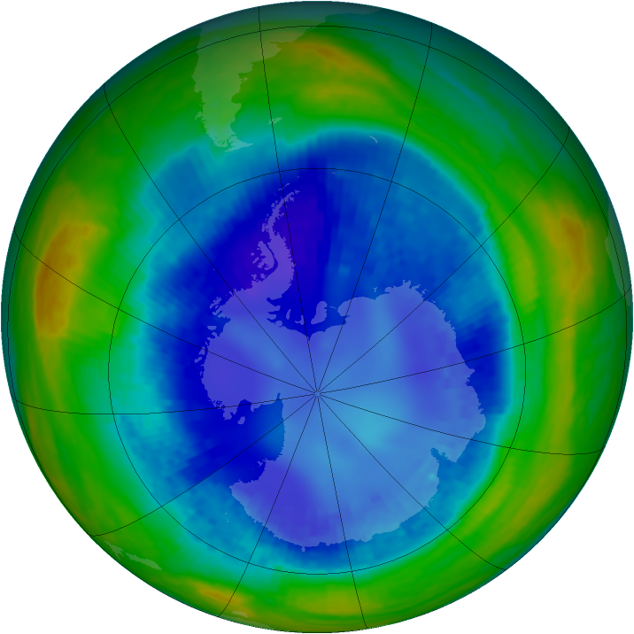 Antarctic ozone map for 25 August 2003
