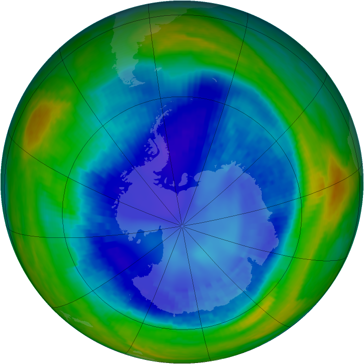 Antarctic ozone map for 26 August 2003