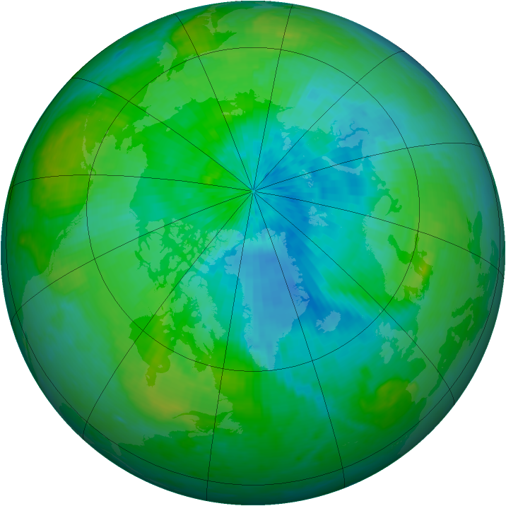 Arctic ozone map for 27 August 2003