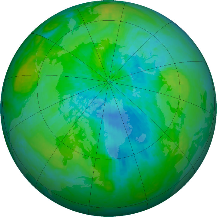Arctic ozone map for 29 August 2003