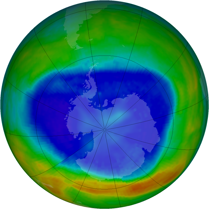Antarctic ozone map for 01 September 2003