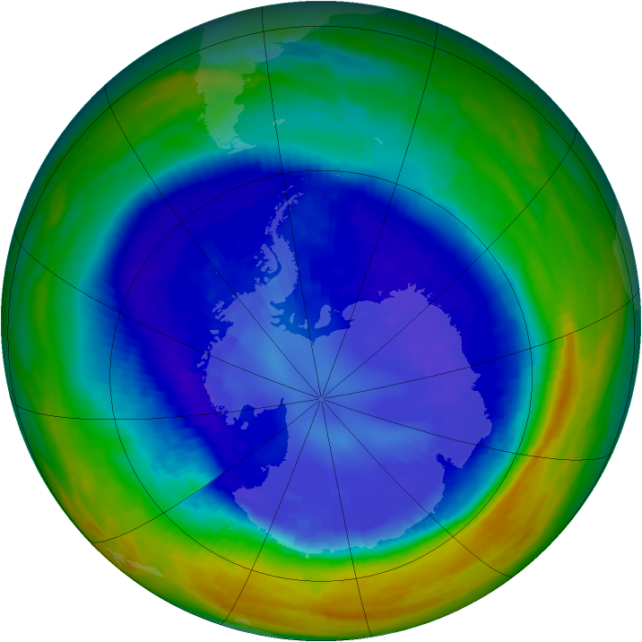 Antarctic ozone map for 05 September 2003