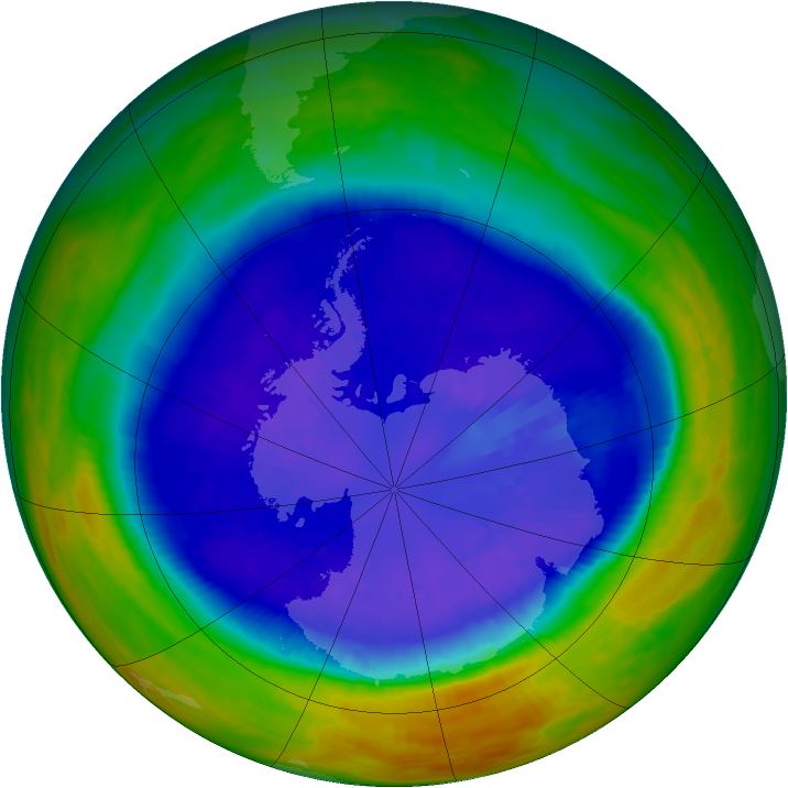 Antarctic ozone map for 11 September 2003