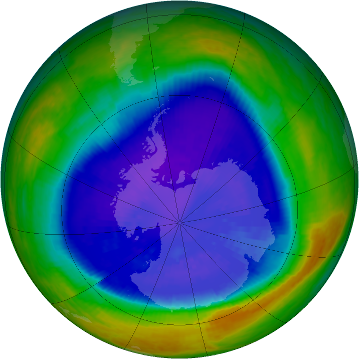 Antarctic ozone map for 14 September 2003