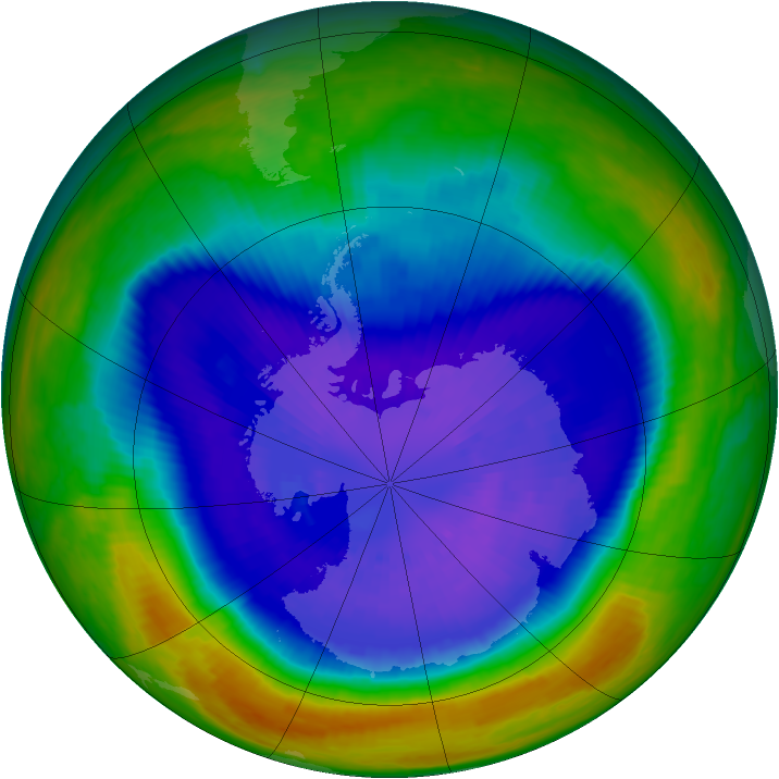 Antarctic ozone map for 18 September 2003