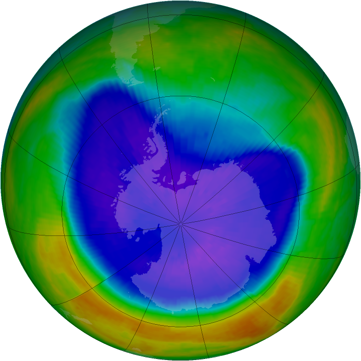 Antarctic ozone map for 19 September 2003