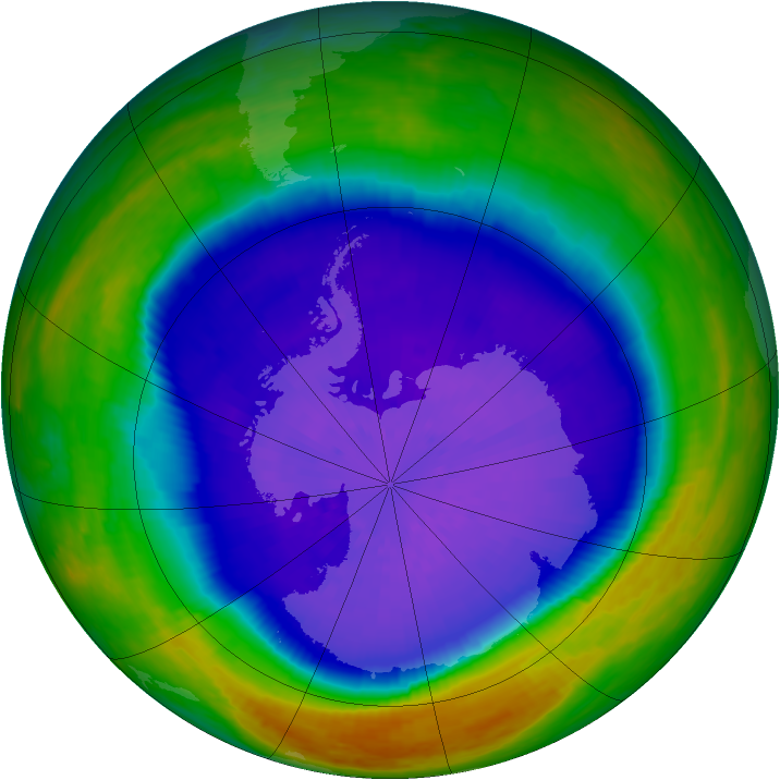 Antarctic ozone map for 24 September 2003