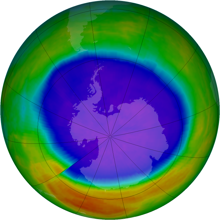 Antarctic ozone map for 25 September 2003