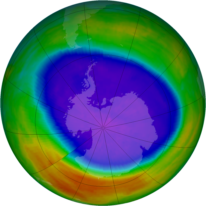 Antarctic ozone map for 26 September 2003