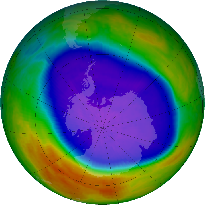 Antarctic ozone map for 27 September 2003