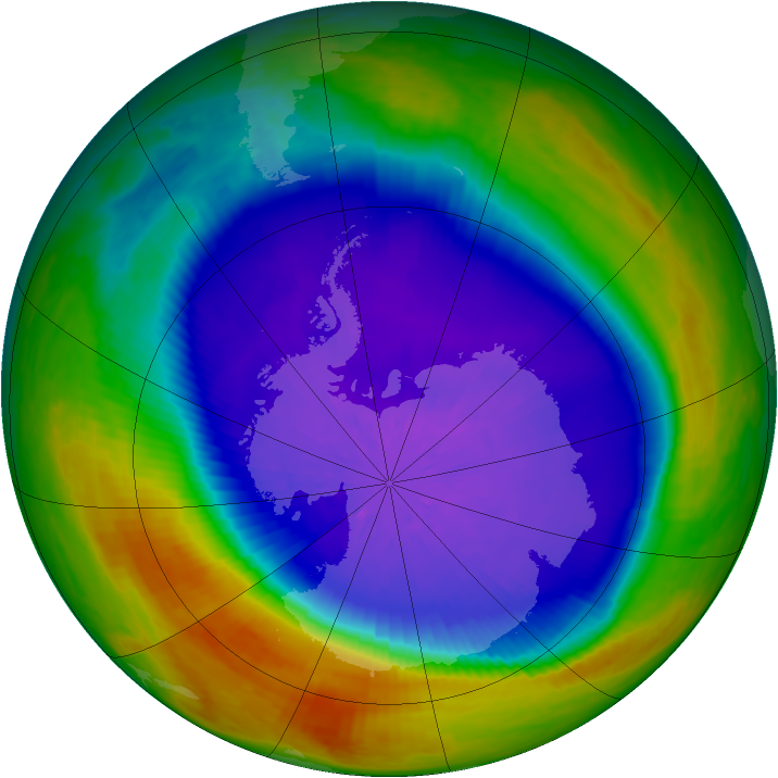 Antarctic ozone map for 28 September 2003