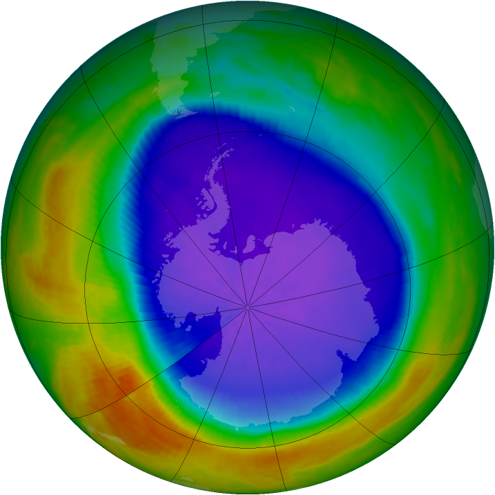Antarctic ozone map for 04 October 2003