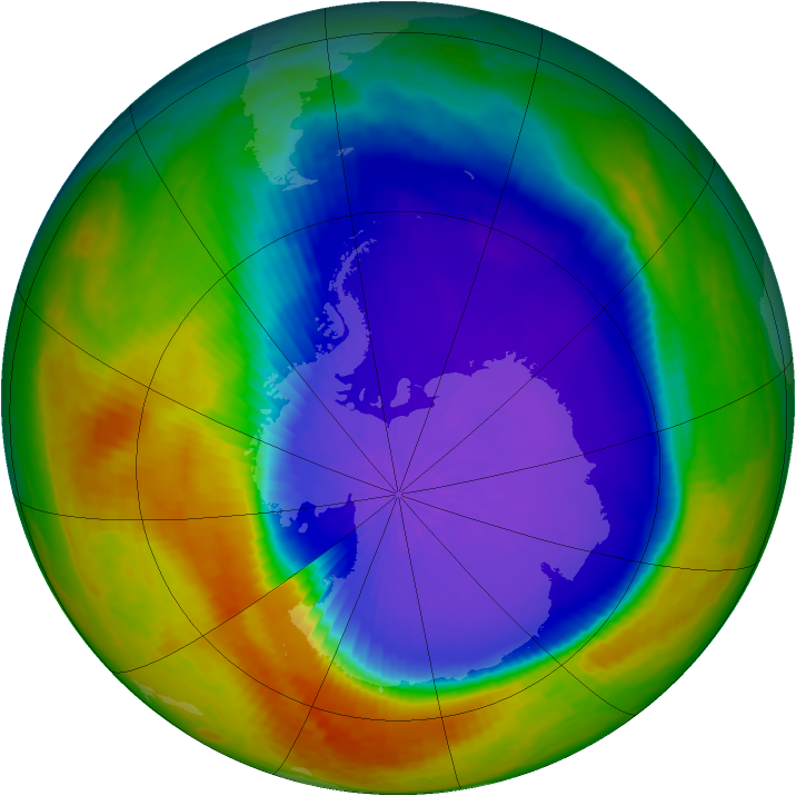 Antarctic ozone map for 08 October 2003