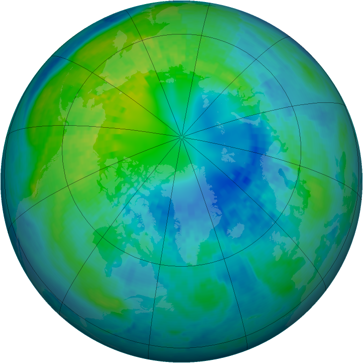 Arctic ozone map for 15 October 2003