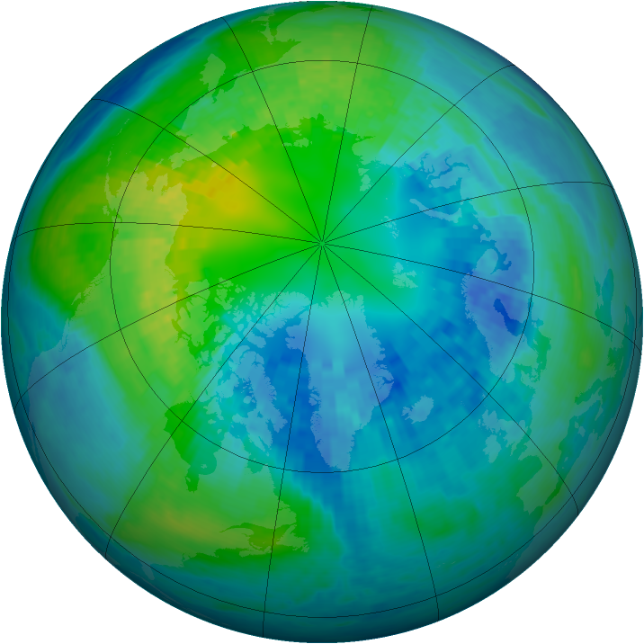 Arctic ozone map for 17 October 2003