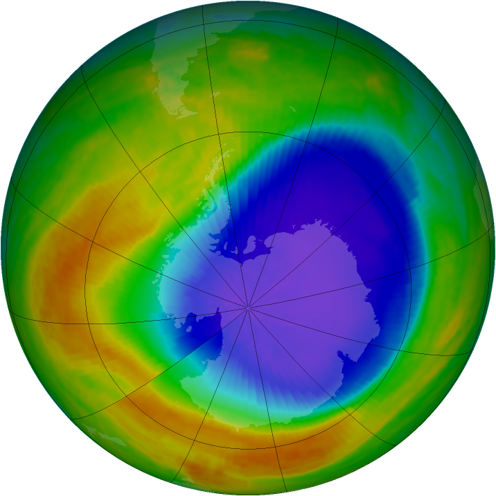 Antarctic ozone map for 19 October 2003