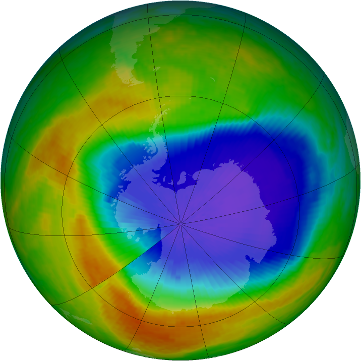 Antarctic ozone map for 21 October 2003