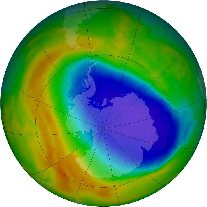 Antarctic ozone map for 23 October 2003