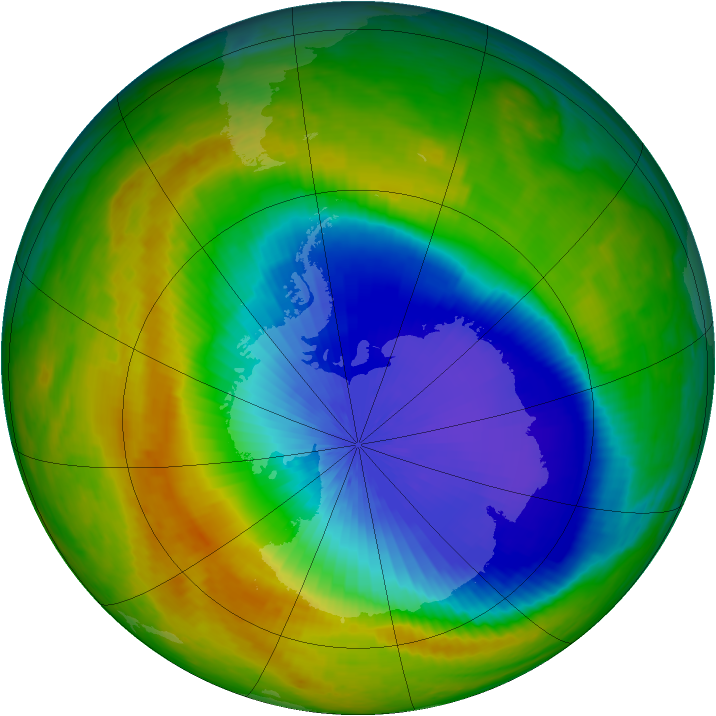 Antarctic ozone map for 24 October 2003