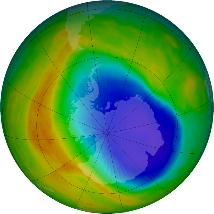 Antarctic ozone map for 25 October 2003