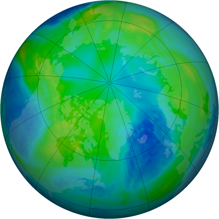 Arctic ozone map for 26 October 2003