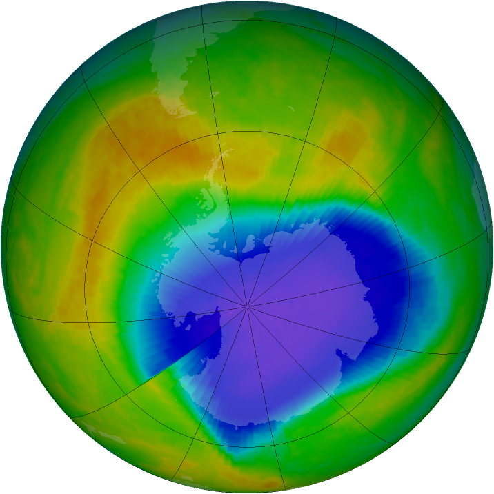 Antarctic ozone map for 29 October 2003