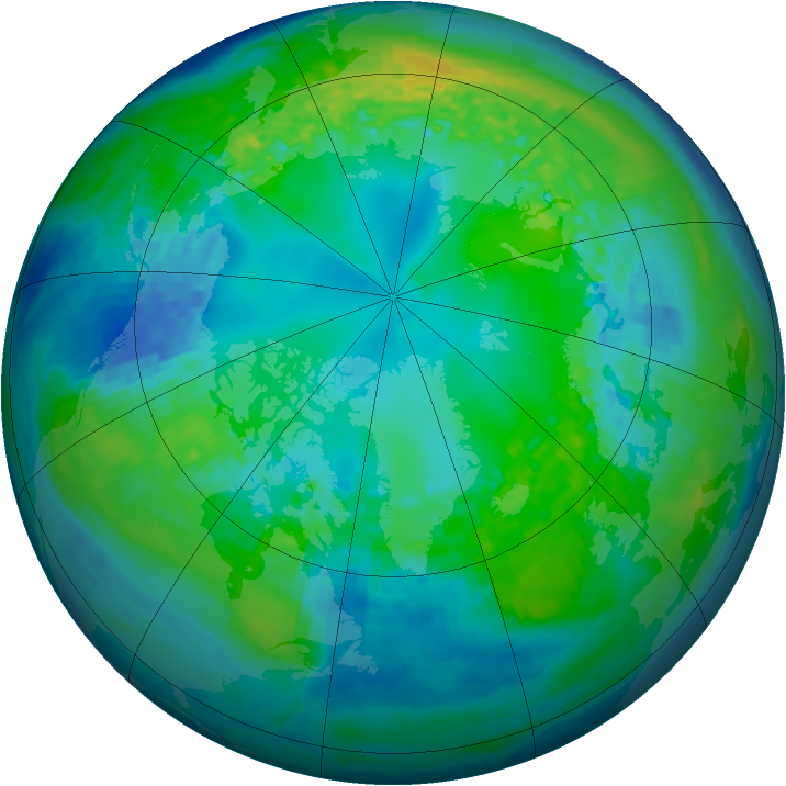 Arctic ozone map for 30 October 2003