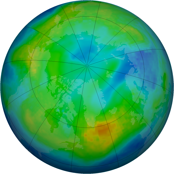 Arctic ozone map for 12 November 2003