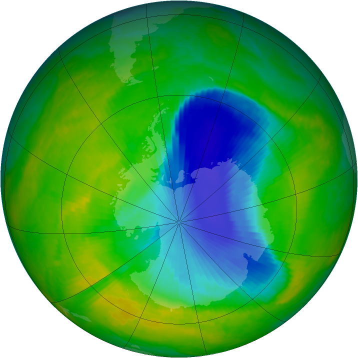 Antarctic ozone map for 14 November 2003
