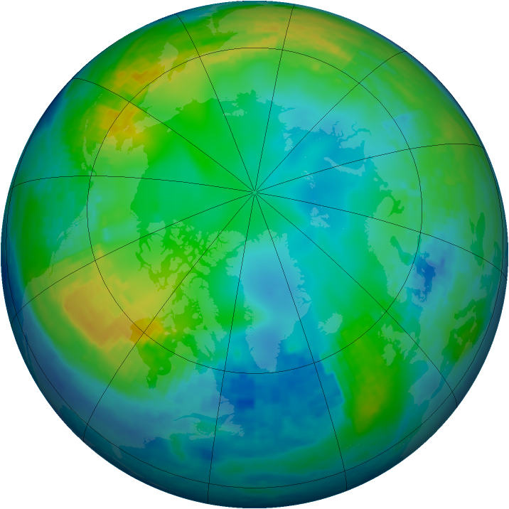 Arctic ozone map for 21 November 2003