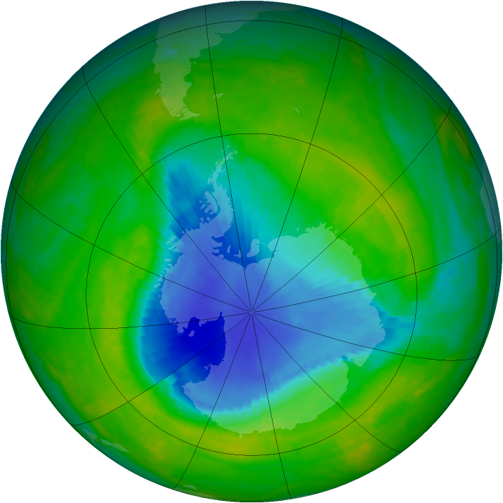 Antarctic ozone map for 22 November 2003