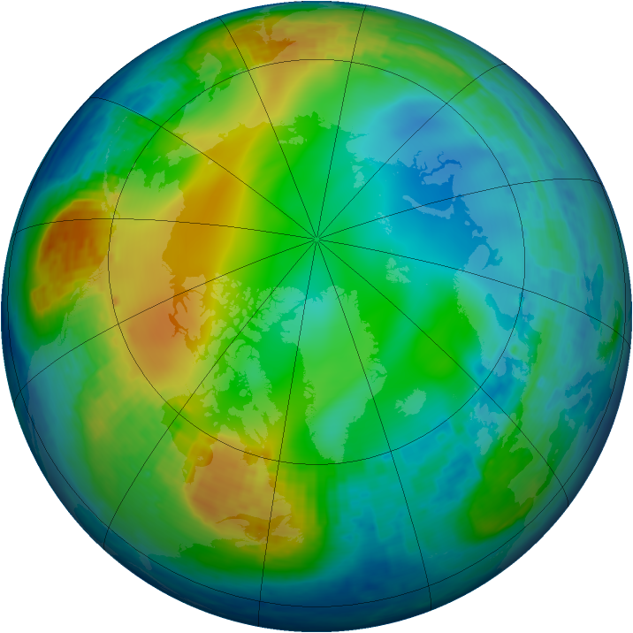 Arctic ozone map for 04 December 2003